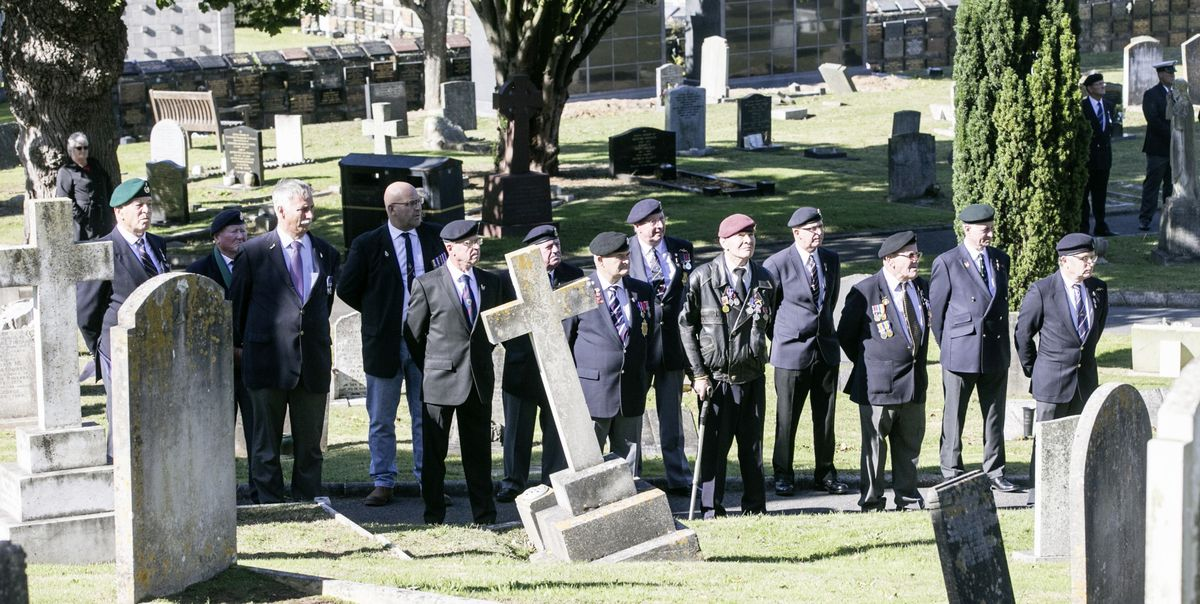 Pic by Adrian Miller 27-09-20 Foulon Cemetery. Remembrance service for H.M.S. Charybdis and H.M.S. Limbourne . Veterans came to pay there respects.. (28735057)