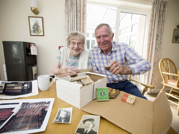 Marj Dodsworth, who served at a Bletchley Park outstation during the Second World War, one of hundreds of people tasked with cracking the Enigma code, talking to John Campbell after the Guernsey Press published a story about a German code he found in his house in St Andrew's. (Picture by Adrian Miller, 29482281)