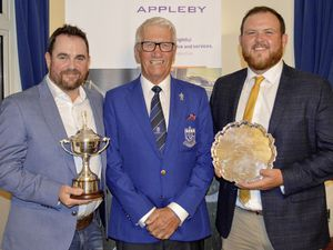 GOLF Appley L'Ancresse Open 2019 presentations. 03-08-19. L-R Winner Ross Haines, L'Ancresse Golf Club captain Micky Boot and scratch salver winner Tom Le Huray..Picture by Gareth Le Prevost. (25425978)