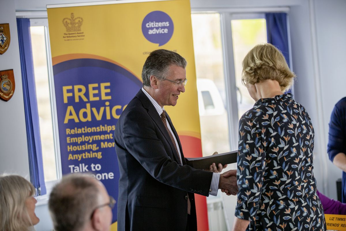 Picture By Sophie Rabey.  19-05-21.  Citizens Advice Bureau AGM at Guernsey Yacht Club.  The Bailiff, Richard McMahon, who is the Patron for Citizens Advice, presented volunteer long-service awards.  Clare Burton recieved an award for 25 years of service.. (29569923)
