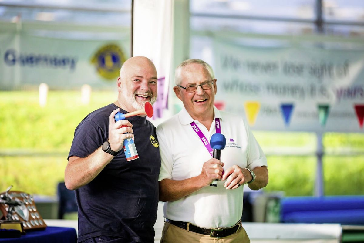 This year's Swimarathon has been launched. Skipton Swimarathon Ambassador and distance swimmer Adrian Sarchet is on the left with committee chairman Nick Guillemette.