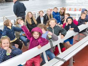 Sark school children enjoying a cruise around Sark to celebrate 50 years of Isle of Sark Shipping. (Picture by Stacey Upson)