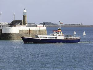 Pic by Adrian Miller 26-08-20 arl boat - Sark Belle in St Peter Port Harbour generic GPweb (28623723)