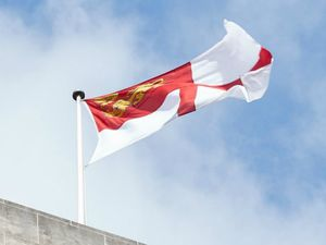 The Sark flag flying from the Ministry of Justice building in Petty France, Westminster