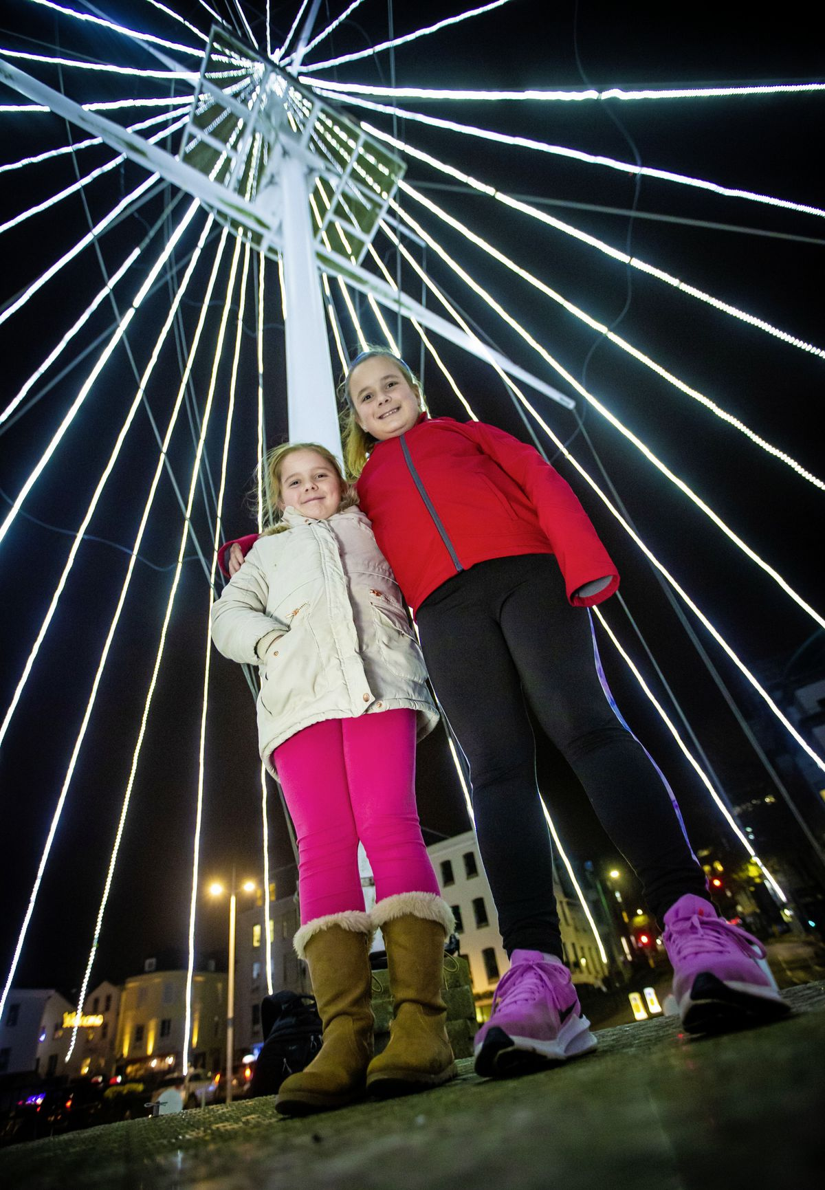Sisters Emilie, 9 and Amie, 11, Miller, were picked to switch on the lights on the Tree of Joy. (Pictures by Peter Frankland, 28956521)