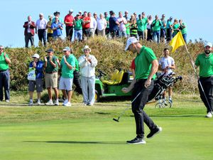 Danny Blondel celebrates holing the birdie putt which guaranteed Guernsey overall victory in the men's inter-insular at L'Ancresse in 2019, when the match was last held. (Picture by Gareth Le Prevost, 29915812)