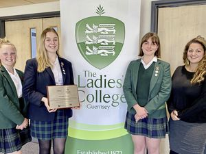 The Ladies' College has become the first Channel Island secondary school to receive the national Wellbeing Award for Schools, with Melrose the first primary school in 2019. Pupils left to right are Amelie Rochester, Nicole Hubert and Sophie Kent and with vice principal (pastoral) Dr Vanessa Mitchell, who led the award process. (Picture supplied by The Ladies' College)