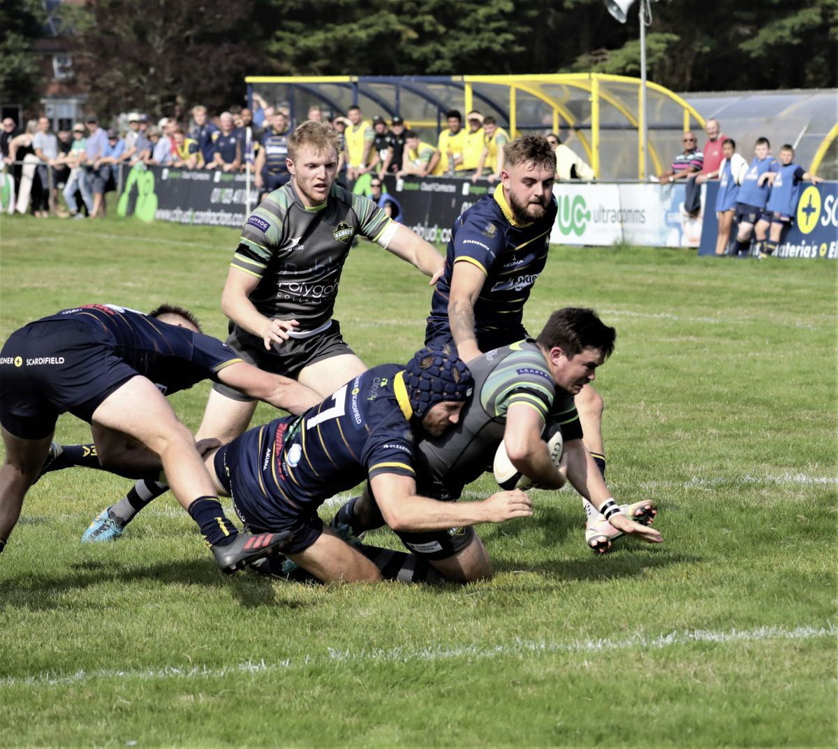 Owen Thomas goes over for a Raiders try. (Picture by Mike Marshall, 29954747)