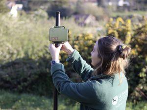 Sarah Allez, project Co-Ordinator, setting up on of the batdetectors (29437206)