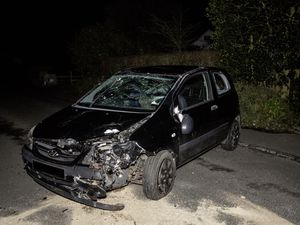 A Hyundai Getz was involved in a one-car traffic accident at the Bailiff's Cross, St Andrew's, on Saturday night. (Picture by Adrian Miller, 29120093)