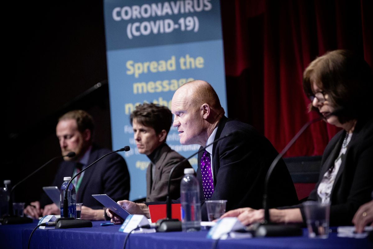 A press conference was held at Beau Sejour to announce tougher measures on the population to stay at home during the Covid-19 coronavirus crisis. Left to right: Paul Whitfield, Heidi Soulsby, Gavin St Pier and Ruari Hardy. (Picture By Peter Frankland, 27673469)