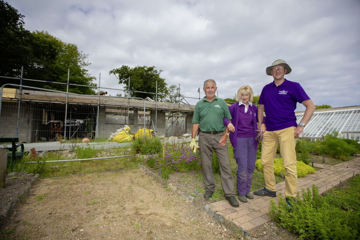 The work on the gatehouse at the Victorian Walled Kitchen Garden has been delayed by lockdowns and other impacts of Covid-19, but it is hoped it will be wind and watertight by the end of July. Pictured are Guernsey Botanical Trust volunteers, left to right, Steve Priaulx, Jayne Spicer and Andrew Thompson. (Pictures by Peter Frankland, 29632320)