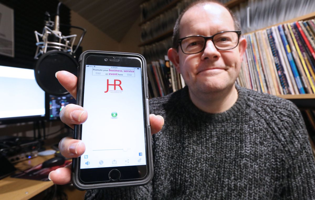 Jubilee Hospital Radio station manager Fred Setters is proud of its new app, which allows people to listen to the station, which broadcasts 24 hours a day, and interact with it directly or through social media.(Picture by Adrian Miller, 20333901)