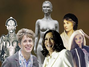 From left: the robot from Fritz Lang's Metropolis, Guernsey's deputy chief minister Heidi Soulsby, Maggi Hambling's sculpture, US vice-president-elect Kamala Harris, Mary Wollstonecraft, Barbie.