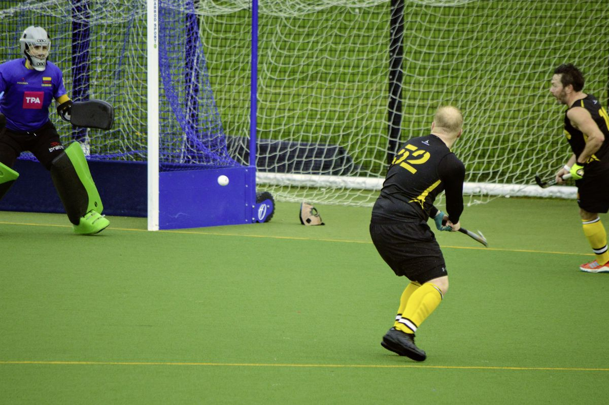 Casuals captain Alex Bushell shoots and Colombians goalkeeper Jake Le Marchant is about to make the save at his near post. (Picture by Gareth Le Prevost, 28914050)