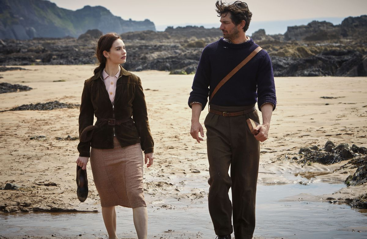 A still supplied by StudioCanal of Lily James and Michiel Huisman, the stars of the Guernsey Literary and Potato Peel Society film, much of which was filmed in Devon.