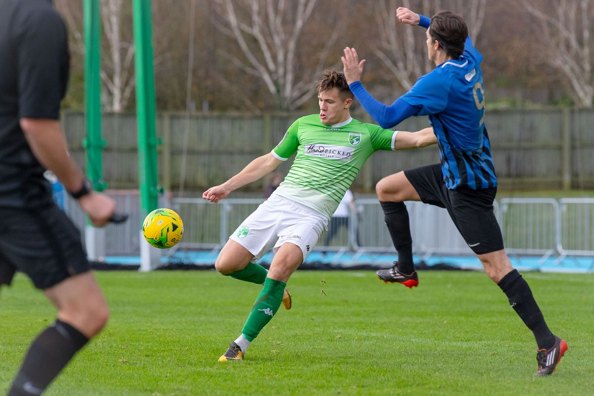 Frank Tobin in action for Guernsey FC back in November 2019. (Picture by Andrew Le Poidevin, 29777683)
