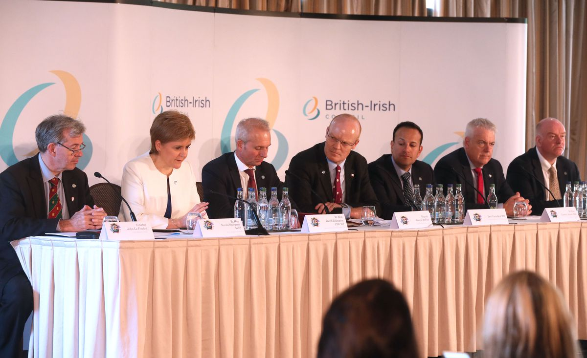 In the island, he is president of the Policy & Resources Committee, but when on international business, Deputy Gavin St Pier is referred to as the chief minister. He is seen at the British-Irish Council press conference in June 2018 with, left to right, Jersey's chief minister Senator John Le Fondre, Scotland' s First Minister Nicola Sturgeon, then Secretary of State for Justice David Lidington MP, Deputy St Pier, Irish Taoiseach Leo Varadkar, former Welsh First Minister Carwyn Jones and Howard Quayle, chief minister of the Isle of Man. (Picture by Adrian Miller, 24469638)