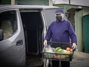 Picture by Sophie Rabey.  04-03-21.  Lesbirel's Fruit, Veg and Flower stall at La Route de Plaisance, St Peter's.  Clary Lesbirel who is 93 has been working throughout lockdown to provide people with fresh fruit and veg.. (29302298)