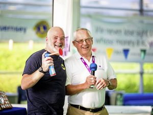 Skipton Swimarathon qmbassador and distance swimmer Adrian Sarchet, left, and organising committee chairman Nick Guillemette. launch this year's event. (30033428)