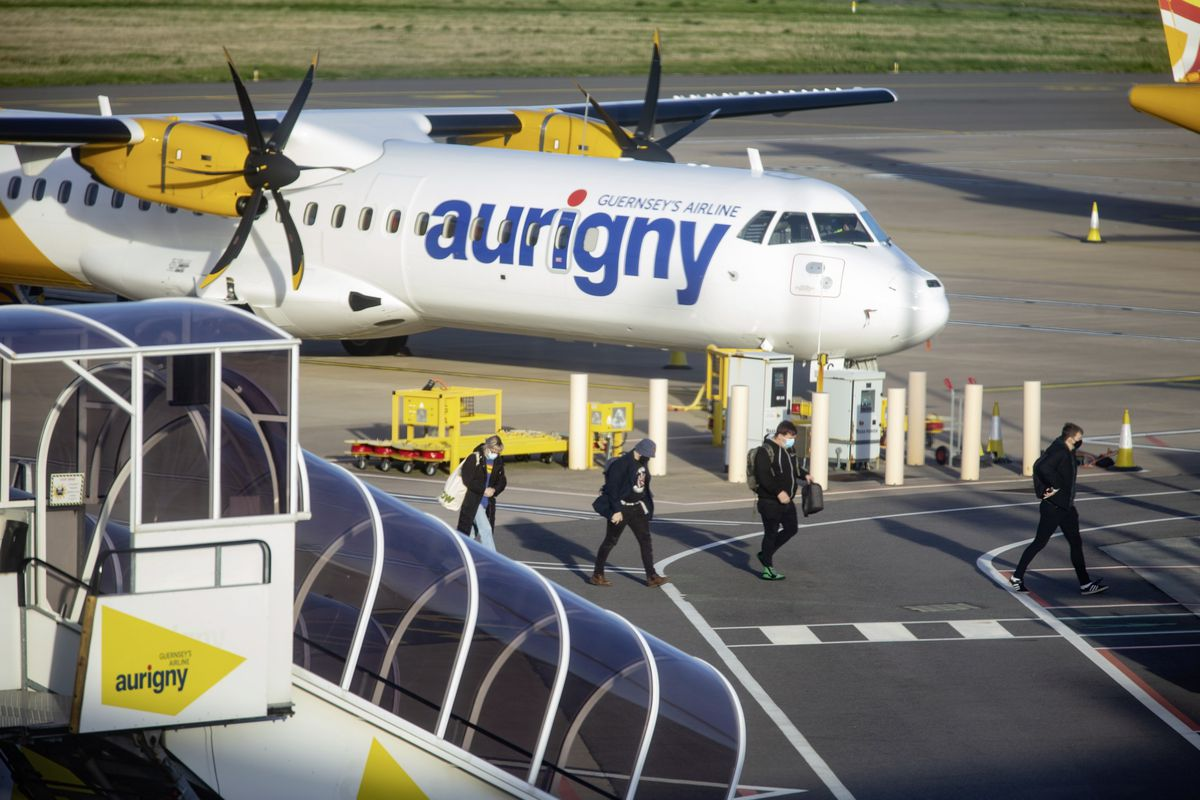 The first flight back from Manchester for students arrives in Guernsey. (Picture by Peter Frankland, 28971161)