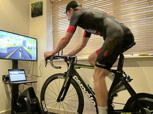 James Roe competing in the Zwift race. (28237225)