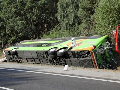 16 hurt as bus overturns on German motorway