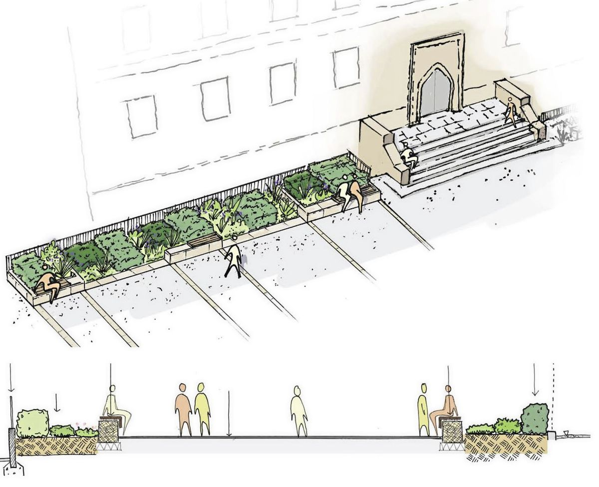 An artist's impression of what the forecourt area of Elizabeth College would look like, with more seating spaces, large planters and an absence of cars. (Image provided by Elizabeth College)