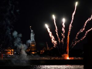 New York celebrates relaxation of coronavirus restrictions with fireworks