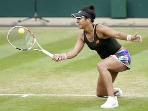 Great Britain's Heather Watson in action against Tunisia's Ons Jabeur during day six of the Viking Classic at the Edgbaston Priory Club, Birmingham. Picture date: Saturday June 19, 2021.. (29676208)
