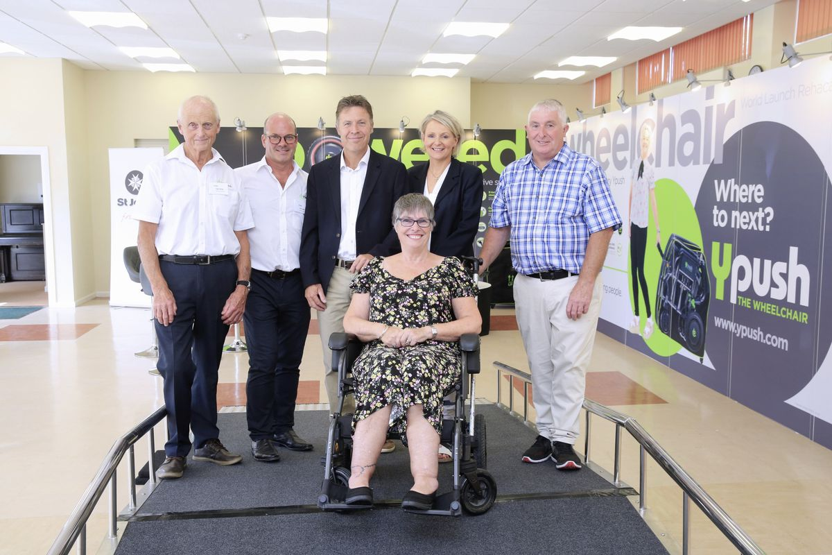 The launch of the Ypush wheelchair. Left to right are Roger Allsopp medical director; Steve Smith pharmacist and investor; inventor Brian Harrison; Sue Mollet; Chantal Harrison, director; and Tony Mollet. (Picture by Adrian Miller, 28548883)