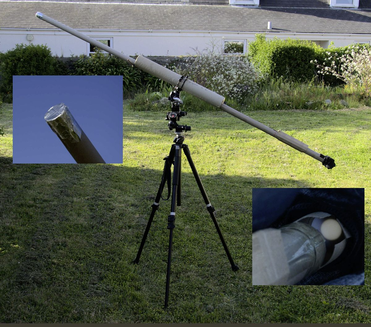 A long pinhole projector made from cardboard tubes and set on a tripod with tracking to keep the image in view – this set-up produces a 2cm diameter image of the Sun, enough to show the shape of a partial eclipse. (29628396)