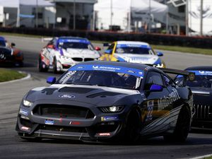 The No. 22 Multimatic Motorsports Ford Mustang GT4 GS of Seb Priaulx and  Scott Maxwell at the Mid-Ohio 120. (Picture by IMSA, 28746043)