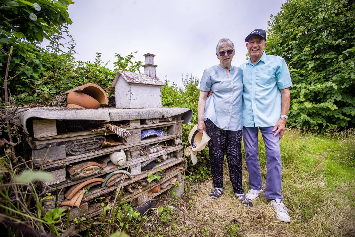 Clive & Geraldine Silk in their St Martin's garden which includes a bug hotel.(29802769)
