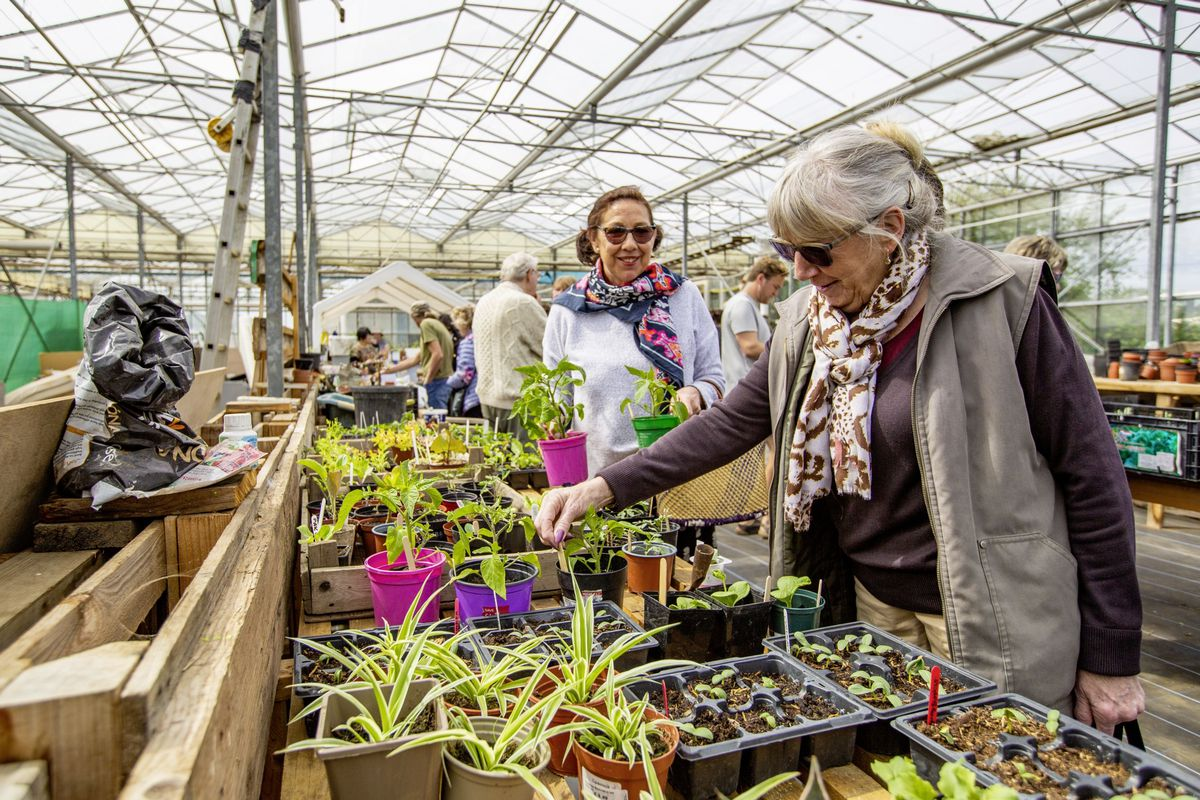 Picture by Sophie Rabey.  03-05-21.  The Great Guernsey Seed Swap - second event at Edible Guernsey.  Swapping seeds and garden tools.  Coral Lines and Ann Hamilton.. (29505237)