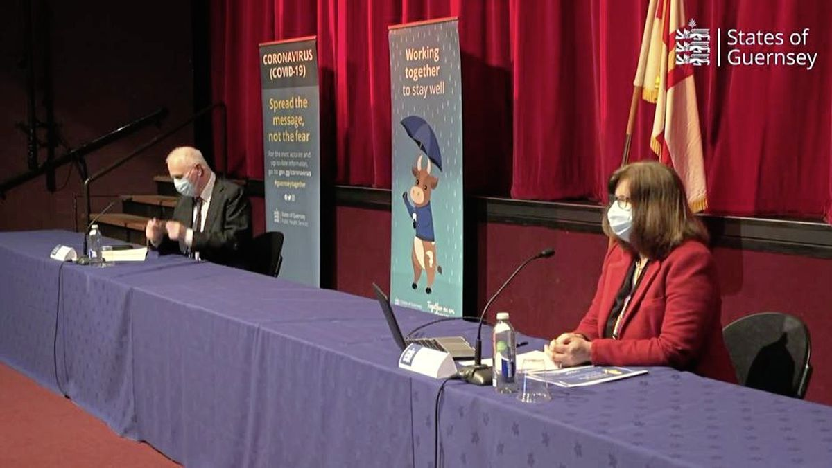 CCA chair Deputy Peter Ferbrache and director of Public Health Dr Nicola Brink at today's Press Conference. (29184484)