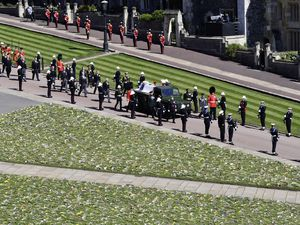 It was a huge honour for three locally-born members of the Royal Marines Band Service to play at the ceremonial funeral service for the Duke of Edinburgh, whose coffin was carried on a purpose-built Land Rover Defender.(Picture by PA Wire)