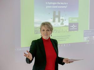 Pic by Adrian Miller 14-01-21 Chamber of Commerce offices. Is hydrogen key to green island? event. SBI Group present a discussion on the Hydrogen potential for inter-island flights and on-island transportation. Deputy Sashaa Kazantseva-Miller. (29201741)