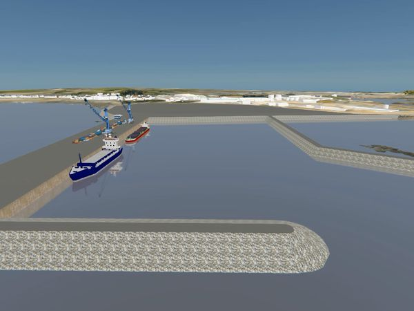 A 3D representation of STSB's preferred option for the harbour redevelopment, a new facility south of the Longue Hougue land reclamation site, but deputies rejected it. (Image supplied by STSB and Guernsey Ports)