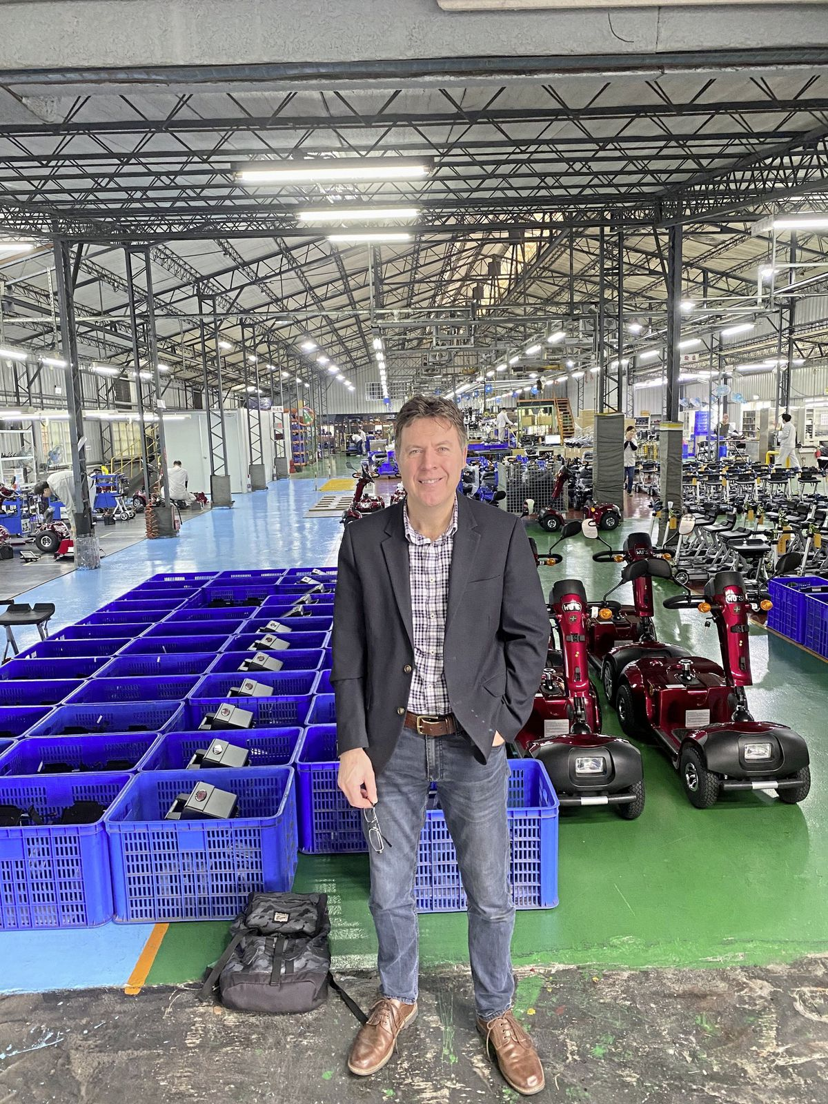 Brian Harrison at the factory in Taiwan where the first production model of the Ypush will be made in October.
