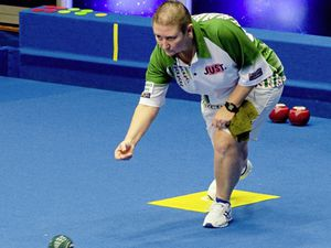 Despite being able to play in the green of Guernsey, Alison Merrien was unable to prevent an inspired Julie Forrest from winning the World Indoor Bowls ladies' singles final yesterday. (Picture from World Bowls Tour website, 23711492)