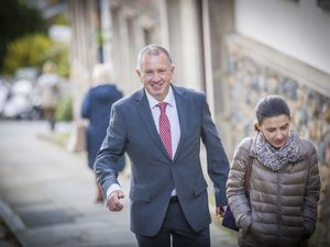 Happier times for Deputy Liam McKenna as he headed for his first States meeting in October. The following month he joined the Guernsey Party, but yesterday announced he had left as he disagreed with tax reforms which party leader Deputy Mark Helyar will present to the States. (Picture by Sophie Rabey, 29968307)