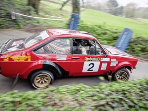 Conquering the Guernsey lanes: Rally winner Ross Le Noa and navigator Dominic Volante drop down into a valley on the St Andrew's stage.                                                                            (All pictures by Andrew Le Poidevin, 20746333)