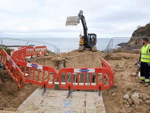 Special permission had to be obtained to dig the beach at Greve de Lecq to access the damaged cable, which carries electricity between Jersey and Guernsey. (Picture by David Ferguson, 22843615)