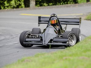 Pic supplied by Andrew Le Poidevin: 21-09-2019...Guernsey Kart & Motor Club hillclimb at Les Val des Terres. Emma Rayson's Lesbirels Motors Jedi Mk1 understeers as she crosses the line.. (25850126)