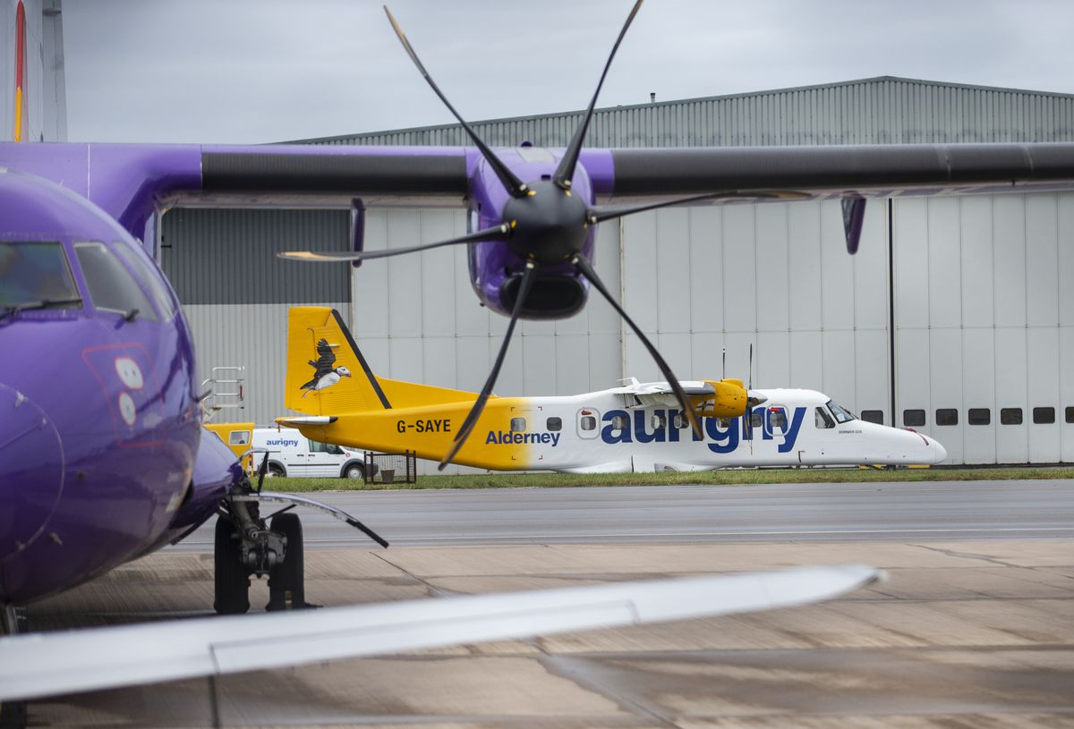 This Dornier has had its Aurigny livery removed and belongs to ZeroAvia in the UK and is being used to test hydrogen-electric powered flight.