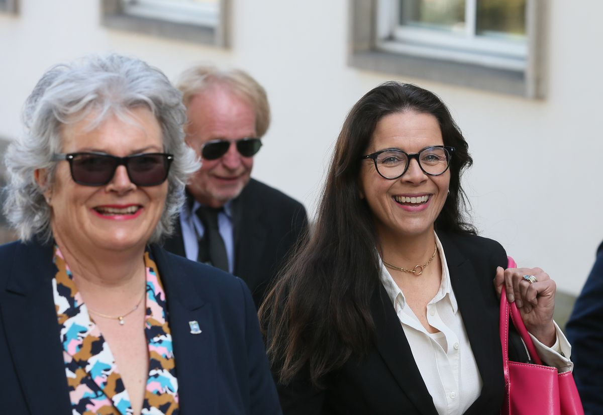 Education members Sue Aldwell, left, and Andrea Dudley-Owen, with Bob Murray behind. (29620179)