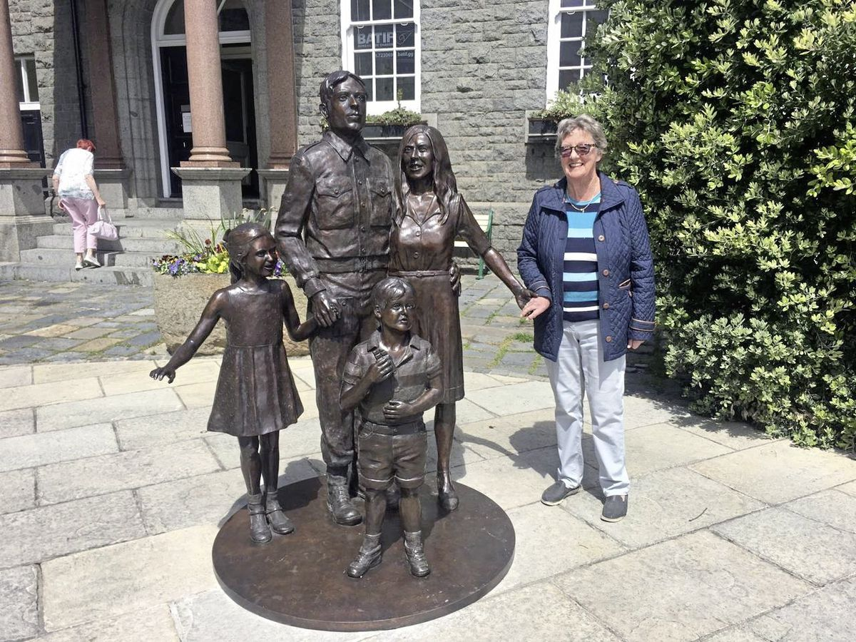 Susie Sampson posing with the newly unveiled 'Liberation 75 Past, Present and Future' statue. (Picture by Emily Hubert, 29533283)