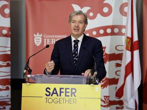 Jersey's chief minister Senator John Le Fondre, speaking at a briefing in October. Yesterday evening he announced tough new restrictions following a surge in Covid-19 cases. (Picture by Rob Currie, 28976172)