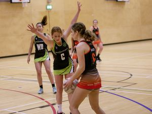 Picture by Sophie Rabey.  06-04-21.  Netball Action at Beaucamps School - Blaze A vs Rezzers Black.. (29408213)